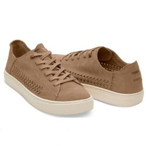 Toms Lenox Toffee Suede Lace Up Womens Sneakers